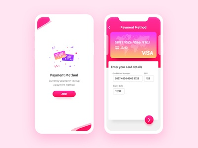 Wallet App purple pink card credit visa ux ui design android ios app wallet