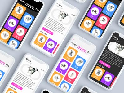 A pet app inteface user design ux ui android ios puppies iphonex app pet
