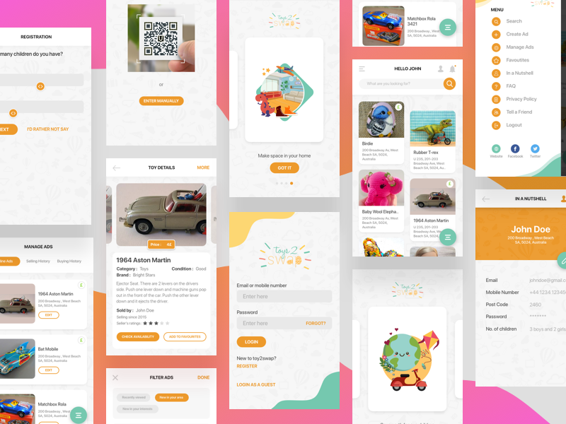 Toy swapping app by Tasun Prasad on Dribbble