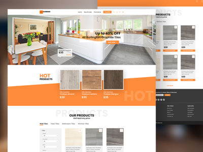 E-commerce web for tiles black orange graphic interface design ux ui web tiles
