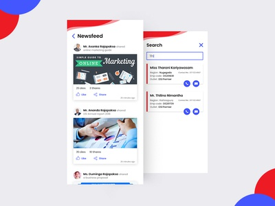 TeleDirectory App blue newsfeed search red ios android graphic design ux ui app directory