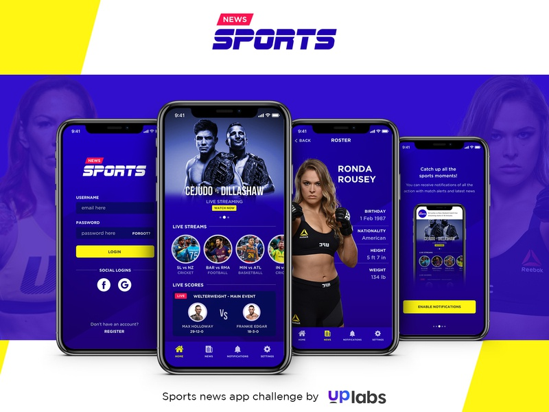 Sports news app challenge adobexd news sports logo design ios iphonex app ux ui