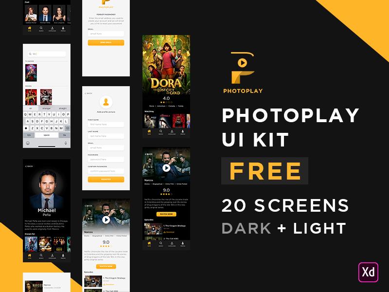 Photo Play UI Kit For FREE iphone ios xd tv shows tv movies kit uiux ui free adobexd adobe