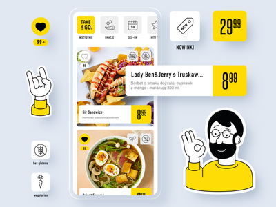 Take&GO app UI food and drink mobile app mobile future store grocery icon illustration shopping shop store food app foodie food ux ux design ui  ux ui