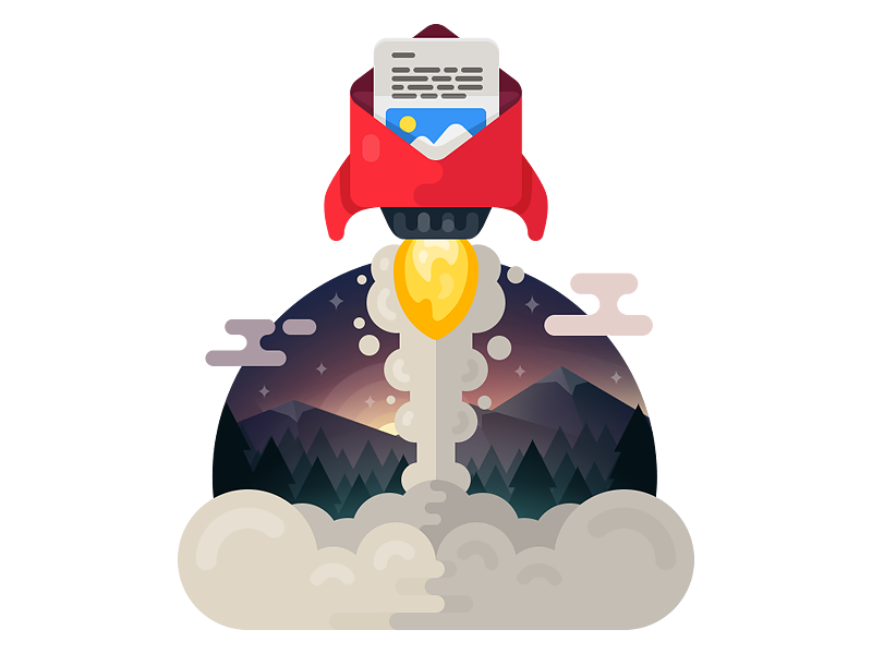 Speed up your email launch forest mailbox envelope email rocket icons icon