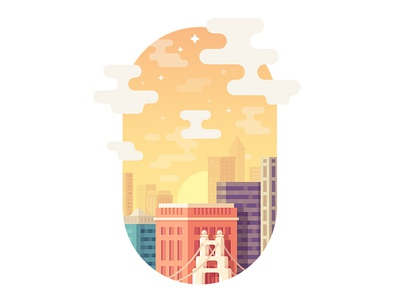 Cloudy City stars skyscrapper bridge building tower sun cloud town city icon illustrations illustration