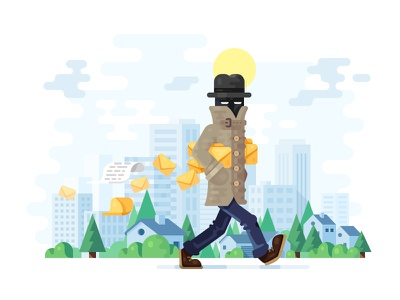 Tutorial Illustration, part 1 walking thief security illustrations illustration