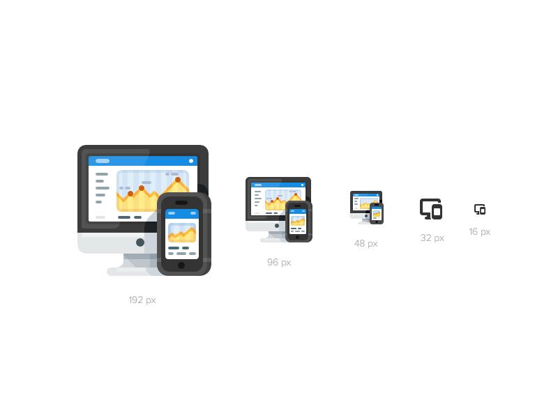 Crossplatform Support Icon for Different Contexts analytics smartphone mobile desktop computer illustration icon