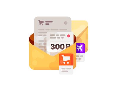 Transactions Highlight Icon/Illustration shopping purchase flight category transactions mail illustration icon