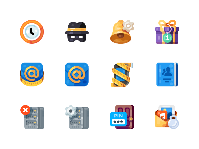 Medium-Sized Icons, part 4 alarm notification bell hosting server present gift size mail illustration icon