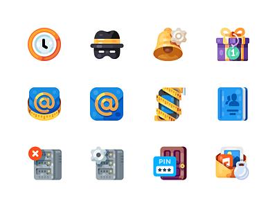 Medium-Sized Icons, part 4 alarm notification bell hosting server present gift size mail illustration icon