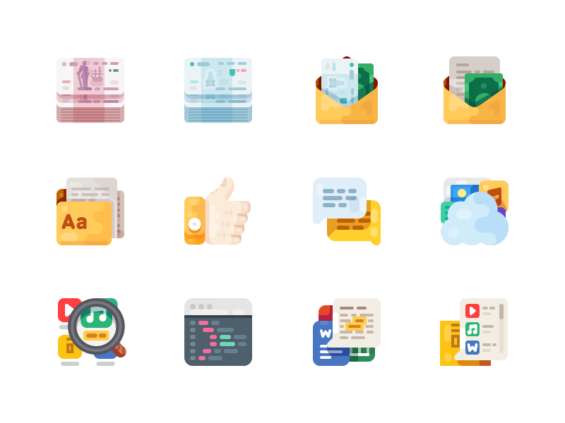 Medium-Sized Icons, part 5 cash file cloud search letter hand chat money code illustration icon
