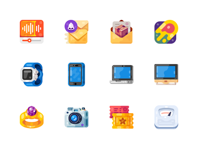 Medium-Sized Icons, part 6 ring wearable smartwatch watch notebook laptop tablet smartphone mobile device illustration icon