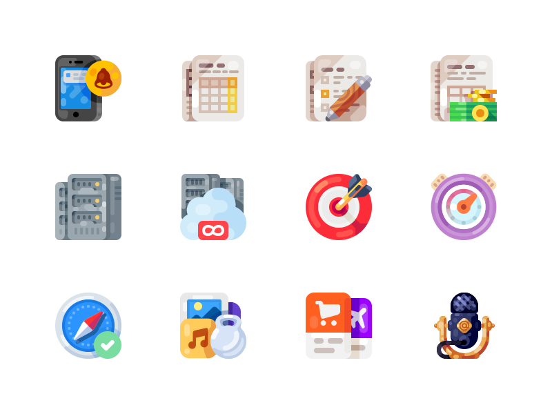 Medium-Sized Icons, part 8 calendar server mic microphone speaker smartphone phone mobile illustration icon