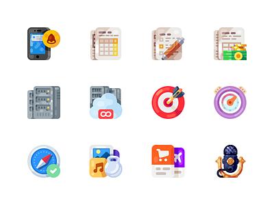 Medium-Sized Icons, part 8 calendar server mic microphone speaker smartphone phone mobile illustration icon