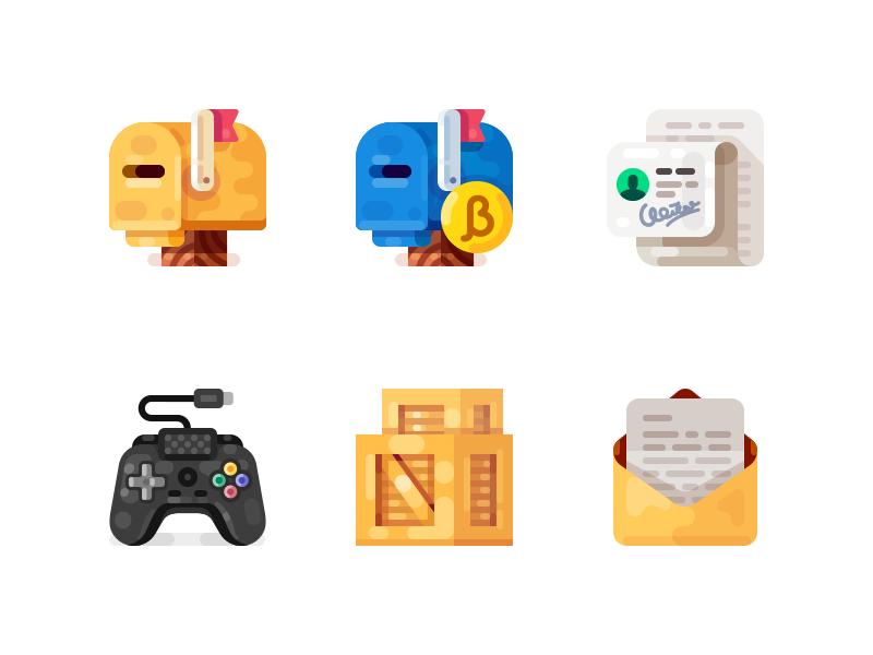 Medium-Sized Icons, part 9 signature crate box letter mailbox game gamepad joystick illustration icon