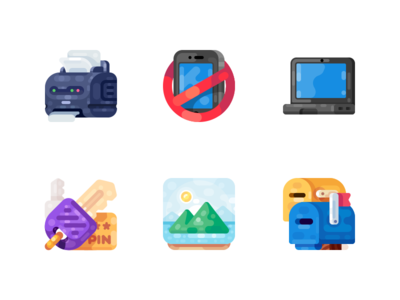 Medium-Sized Icons, part 10 mail mailbox picture image pin key computer notebook laptop printer illustration icon
