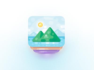 Photo Themes Icon design numicor illustration green pile clouds mountain water ocean sun icon