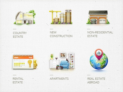 Icons for real estate agencies. icons design numicor real estate agencies icon set