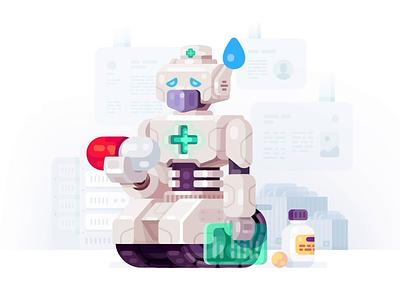 Robo Mascot for VseApteki pill problem wtf sad health error mascot robot illustration