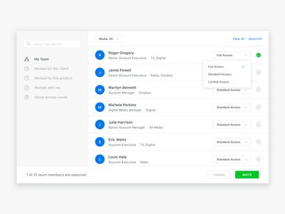 Web App UI – User Selector app navigation user selector ui user experience user interface ux web app