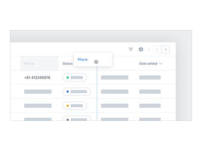 Data Table UX/UI – Column Order ui ux user experience user interface app web app data table crm