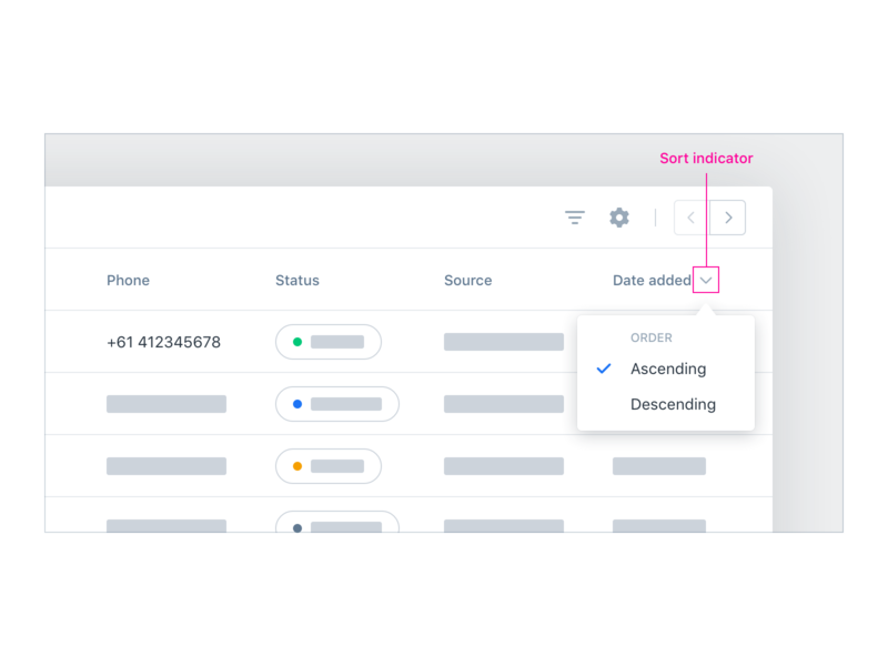 Data Table UX/UI – Sort Options by Sangwook Park on Dribbble