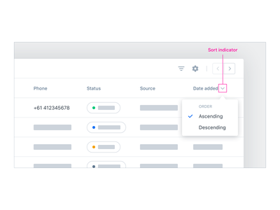 Data Table UX/UI – Sort Options data table crm web app app user interface user experience ux ui