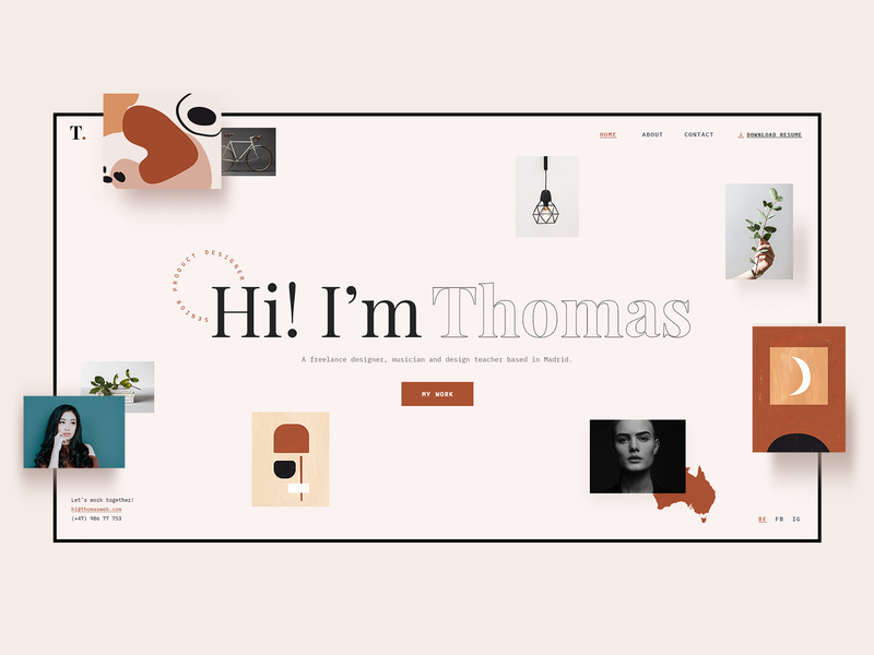 My Career/ Thomas Demo theme clean ux ui minimal modern website landing page biography vcard online resume personal cv design portfolio resume template cv