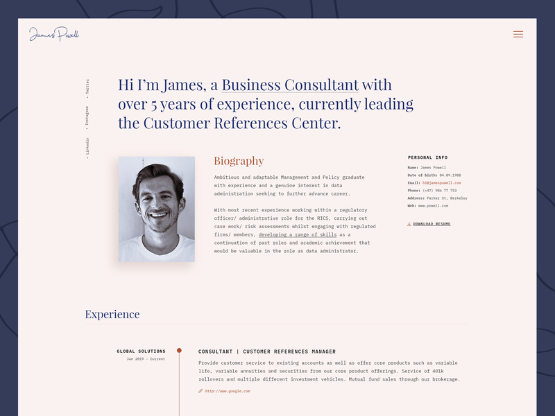 MyCareer / James Demo personal website portfolio cv template resume cv biography landing page landing web design wordpress theme clean ux ui modern