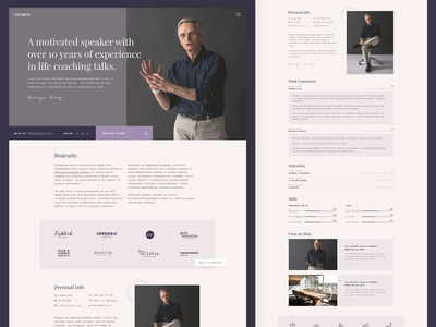 MyCareer / George Demo biography personal website resume template resume cv cv design ux ui minimal landing page landing web wordpress theme clean