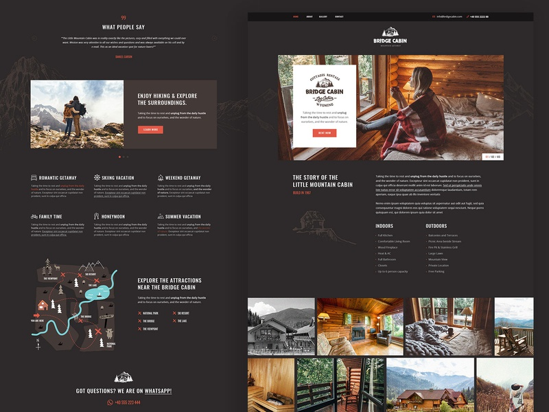 Cabin Rental travel landing page landing wordpress theme design ux ui modern rental cabin