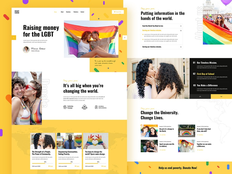 RightCause - Charity and Donation Theme landing landing page wordpress theme design ux ui modern lgbt rightcause charity donation fundraising