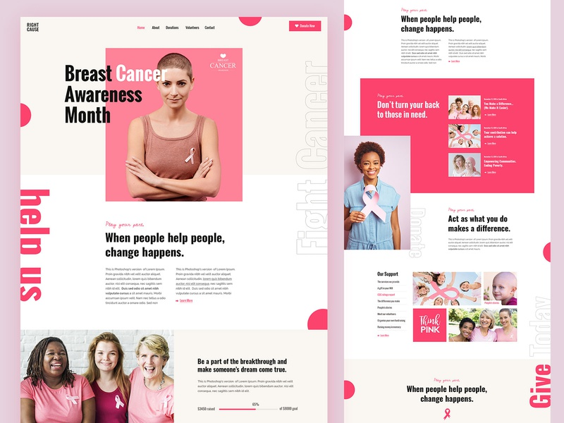 RightCause - Charity and Donation Theme pink right cause creative landing page landing wordpress theme design ux ui modern awareness cancer donations fundraising