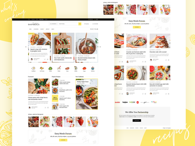 EasyMeals - Food Blog WordPress Theme blog ui  ux modern web landing landing page clean wordpress theme bbpress recipes forum recipes bloggers foodblog food