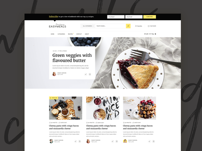 EasyMeals - Food Blog WordPress Theme website clean design ux ui modern landing wordpress theme food blogging recipe blog bloggers foodblog recipes