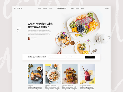 EasyMeals - Food Blog WordPress Theme meals website concept clean design ux ui modern landing wordpress theme bloggers blog food cooking foodblog recipes