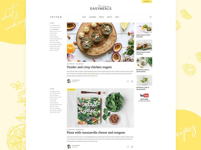EasyMeals - Food Blog WordPress Theme minimal landing page landing wordpress theme ux ui clean modern forum community personal blog recipes food blog food