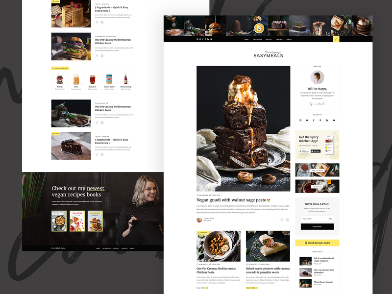 EasyMeals - Food Blog WordPress Theme webdesign landing page clean design ux ui modern wordpress theme forum community cooking ingredients bloggers foodblog blog food recipes