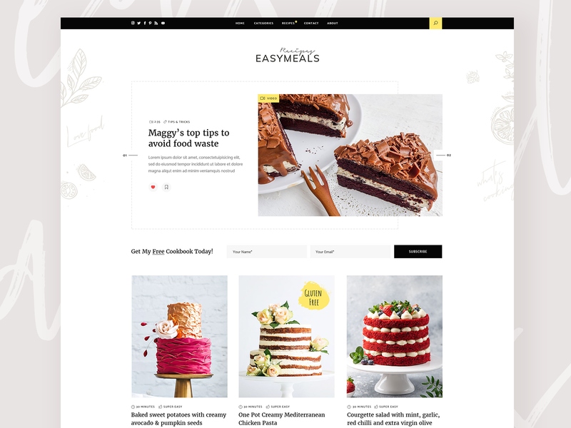 EasyMeals - Food Blog WordPress Theme cakes ingredients theme wordpress clean design ux ui modern forum community cooking foodblog bloggers blog food recipes