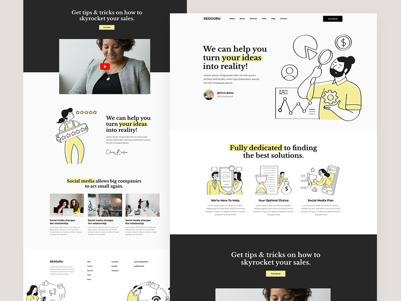 Agency & Marketing Landing startup yellow branding web landing page landing design ux ui modern social media free illustration illustrations seo marketing