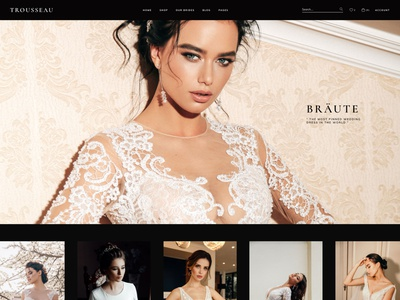 Trousseau - Bridal Shop WordPress Theme minimal landing page theme wordpress clean ux ui modern dark layouts shop blog wedding boutique bridal store