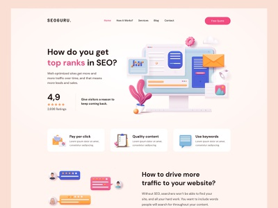 SEO Landing colorful landing page ui clean modern 3d ilustration optimization digital marketing agency seo