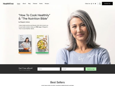 HealthFirst - Nutrition and Recipes Theme landing ux ui modern wordpress theme coach weightloss books podcast blog recipes health dietitian bmi calculator nutritionist