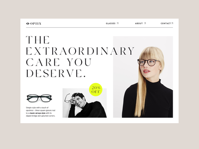Optician Landing page shop branding ui  ux typography minimal clean modern landing page store ophthalmology glasses optician