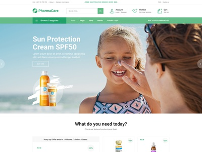 PharmaCare - Pharmacy and Medical Store clean minimal landing page wordpress theme modern equipment products cosmetics drugs medical store apothecary pharmacy