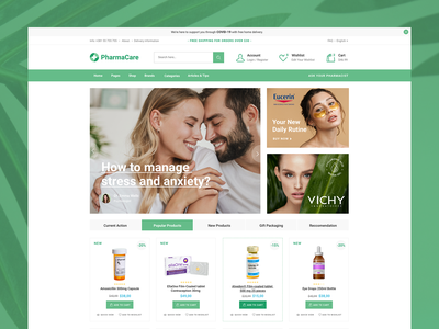 PharmaCare - Pharmacy and Medical Store landing wordpress design clean ux ui modern cosmetics equipment drugstore shop store medical apothecary pharmacy