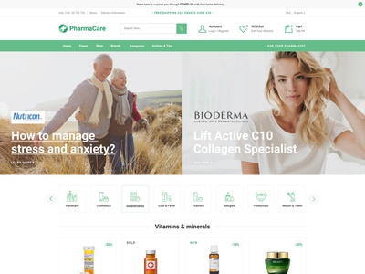 PharmaCare - Pharmacy and Medical Store layout landing page theme ux ui clean modern medical cosmetics equipment drugstore store shop apothecary pharmacy