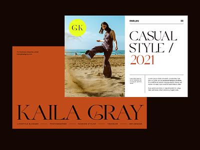 Kaila Gray Landing fashion blogger branding modern clean ux landing layout exploration