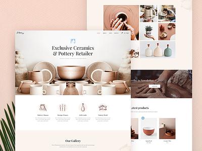 Pottery Landing page minimal shop page landing ux ui clean modern ceramics pottery design web